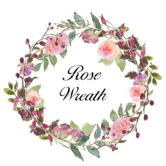 Watercolor Floral Rose Clipart, Digital Watercolor Flower