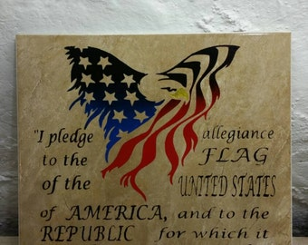 Pledge allegiance ceramic tile