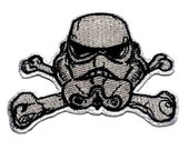 Storm Trooper Skull Star Wars Inspired Iron On Embroidered Patch 3.7""