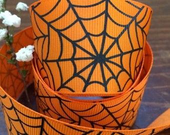 "1.5"" Spider Web Grosgrain - Halloween Ribbon - Halloween Decor & Accents - Halloween Hair Bow - 5, 10, 25, 50 yards - HBC101013-21550205668"