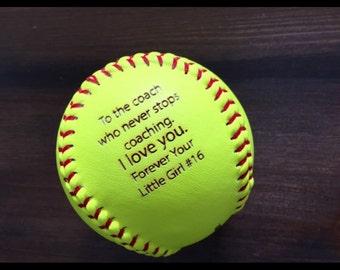 Engraved Softball, Custom Message Softball, Baseball, Coach Gift, Softball Gift, Laser Engraved Ball, Personalized Softball