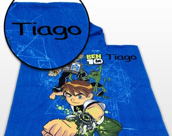 Kids Boys Gift - Personalized Hooded Poncho and Beach Bath Pool Towel - Ben 10