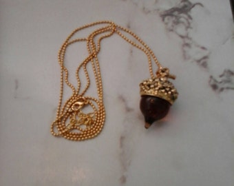 Amber Glass Acorn Necklace