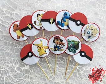 12 Pokemon cupcake toppers with your favourite heroes
