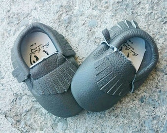 Grey Leather Baby Moccasins Leather Booties Baby Soft Sole Moccasin tassel shoe genuine leather gray moccasins crib shoes