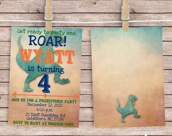 Dinosaur Birthday Party Invitation - Dino Birthday Invitation - Dinosaur Invitation - Roar Dinosaur Pary Invitation - Boy Birthday Party