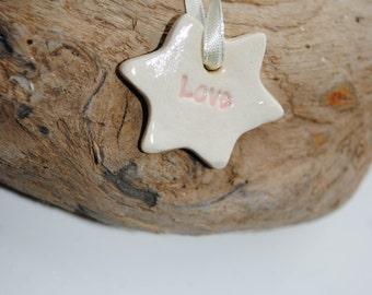 "Handmade Hanging Star ""Love"" Tree Decoration"