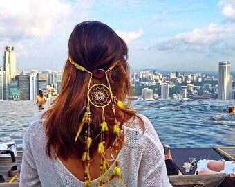 Pocahontas dreamcatcher headpiece - festival hippie gypsy chic