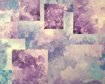 Palette Knife Painting Acrylic Abstract Textured in Purples and Blues