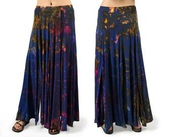 Tie-Dye Maxi Skirt - Blue Multi - 3668K