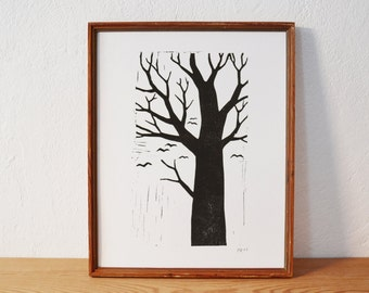 tree 3 · original linocut · Limited Edition · DIN A4