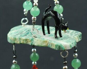 Cat Lover Suncatcher//Window Cat Suncatcher//Window Crystal Hanger//Black Cat Suncatcher//Mariposite Stone Slab//Swarovski//Aventurine