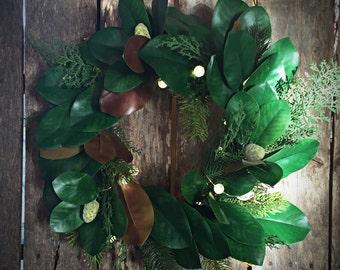 Magnolia and Evergreen LED Wreath