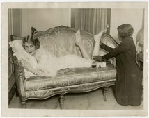 Vintage 1926 Photograph Cabaret Dancer Eleanor Ambrose Gets Leg Massage From Personal Ladies Maid Unusual Queen Anne Sofa Flapper Jazz Baby
