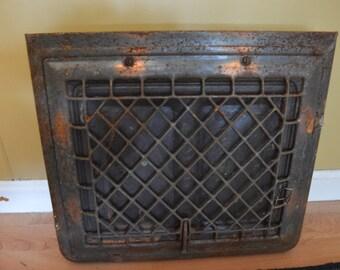 vintage metal wall register, register, antique register, grate