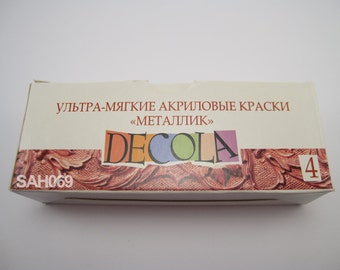 "4 METALLIC Acrylic Paint Set ""DECOLA"" Russian Nevskaya Palitra"