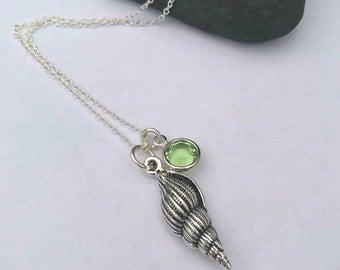 Shell Necklace - Birthstone Necklace - Personalized Necklace- Swarovski Birthstone