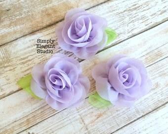 Lavender- Sets of 3 Chiffon Flowers with Leaf, Headband Flowers, DIY Craft Flower Supply, Wholesale Flowers