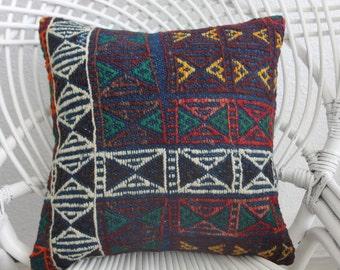 decorative pillow for couch purple red white kilim pillow 16x16 bohemian pillow throw pillow turkey kilim cushion wool pillow cover 728