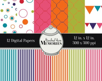 Digital Papers, Bright Stripes and Shapes , 12 inches x 12 inches, 300 ppi (dpi), Scrapbooking and Craft Papers, Downloadable and Printable