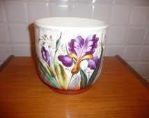 Plant pot signed Boch and Frères Keramis (BFK) and numbered, decor iris.