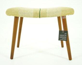 306-037.1 Danish Mid Century Modern Beech Footstool Stool Ottoman