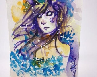 ACEO trading card original watercolor artwork anime manga