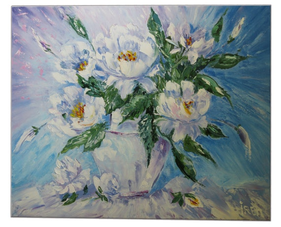 Style Painting Art Modern Blue Gift for mother Decorations Picture Ideas Peonies still life Oil Gift for girls Flowers painting Hand made