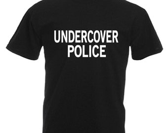 Undercover Police Adults Mens Black T Shirt Sizes From Small - 3XL
