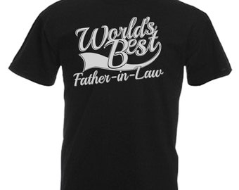 World's Best Father In Law Gift Adults Mens Black T Shirt Sizes From Small - 3XL