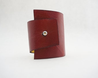 Reversible Red and Gold leather cuff bracelet