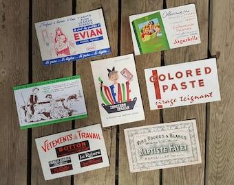 """Lot 7 blotters """"Evian, Aiguebelle, ideal, milk, Botton, Colored Paste, Baptiste Fayet"""" vintage"""