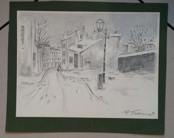 "Drawing in pencil ""Village under the snow"" by Robert Feqiakidip 1989 vintage"