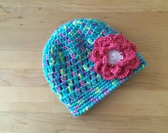 multi-color crochet baby hat with flower, newborn hat, beanine, baby girl winter hat, photo prop