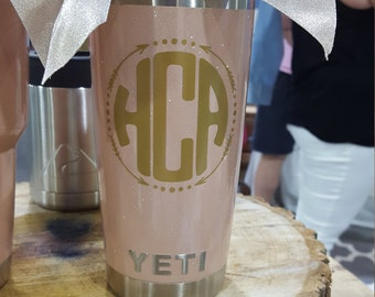 20oz Blush Powder Coated Glitter Yeti with Straw Lid