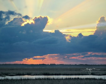 Sunset on Jekyll Island, Georgia with Marsh Clouds Water and Sky-Photography Fine Art Print or Wrapped Canvas Available