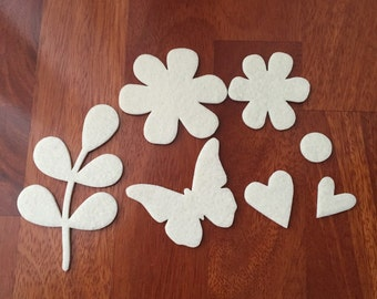 Set of 7 shapes of felt 3 mm thick