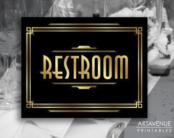 Art Deco Restroom Printable Sign, Gatsby Wedding, Roaring Twenties Party Decor, Art Deco Party Supplies - Black and Gold - ADBG1