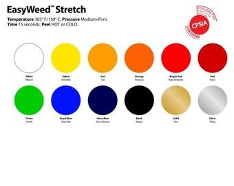 "Siser EasyWeed Stretch Heat Transfer Vinyl - 10"" x 8"" (25 x 20 cm) sheet, 10 elastic colors available, tshirt vinyl, iron on vinyl"