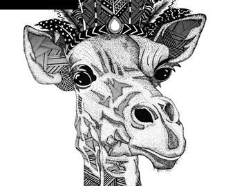 Giraffe Print - A4 Unframed Black & White Illustration
