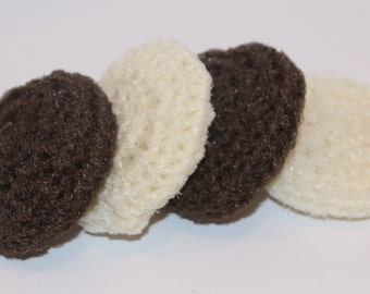 Scrubbies Crochet Set of 4 Brown and Cream