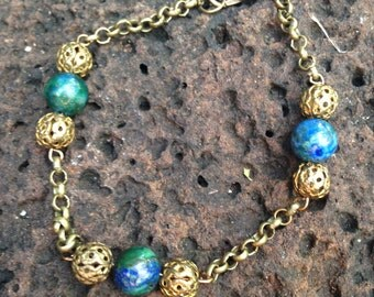 Chrysocolla and Vintage Filigree Beads on Brass Chain