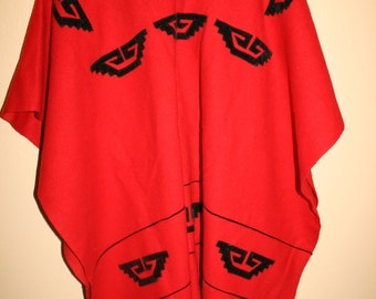 Red Fleece/Wool Aztec Native Fringe Poncho