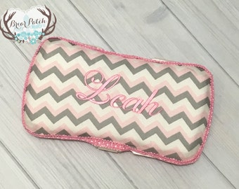 Personalized Baby Wipe Case, Custom Wipe Case, Travel Baby Wipe Case, Pink and Gray Chevron Wipe Case, Diaper Wipe Case, Baby Gift