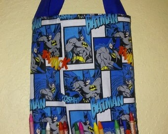 Batman Coloring book bag, with crayon holder, book bag, tote bag