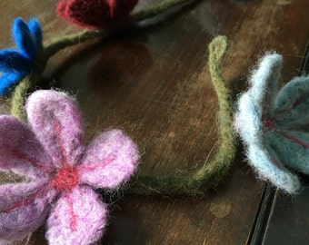 Needle Felted Flower Garland, Flower Crown, Home Decoration