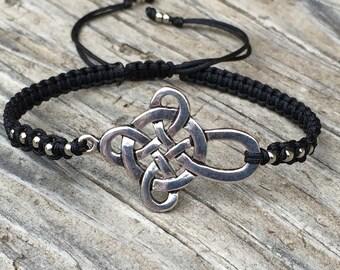 Celtic Knot Cross Bracelet, Cross Anklet, Adjustable Macrame Cord Bracelet, Cross Bracelet, Cross Jewelry, Macrame Jewelry, Gift for Her