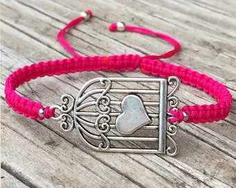 Birdcage Bracelet , Adjustable Cord Macrame Friendship Bracelet