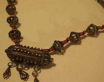 Vintage-unusual-boho-ethnic-necklace-800 silver-etruscan jewelry