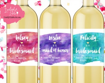 Will you be my bridesmaid wine labels, watercolor bridesmaid wine labels, thank you bridesmaid labels, bridesmaid gift - style 422